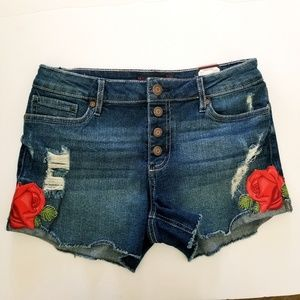 NEW Rose embroidered denim shorts